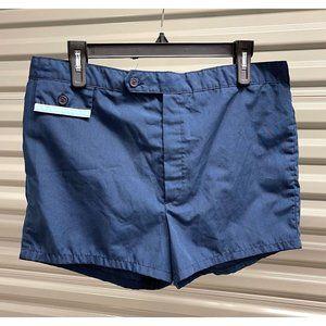 """Vintage Jantzen Navy Blue 2.5"""" Inseam Swim Trunks"""